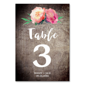 Rustic Flower Bouquet Wedding Table Number