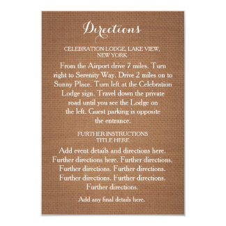 Rustic Flowers Wedding Directions Card