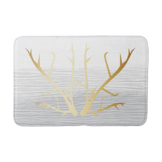 Rustic Gold Antlers on White & Grey Faded Texture Bath Mat