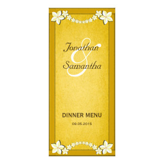 Rustic Gold Floral Wedding Dinner Menu Cards Rack Cards