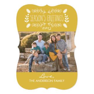 Rustic Gold Season's Greetings Photo Card