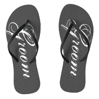 Rustic gray wedding flip flops for bride and groom thongs
