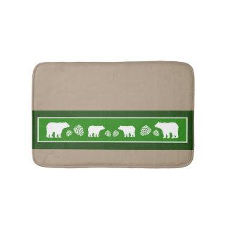 Rustic green bear pinecone memory foam bath mat