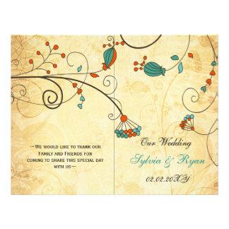 Rustic, green floral folded , fall Wedding program 21.5 Cm X 28 Cm Flyer