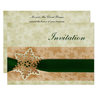 rustic green winter wedding Invitation cards