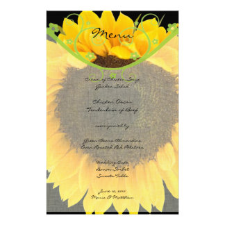 Rustic Greenery Sunflower Barn Wedding Menu