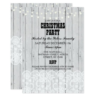 Rustic Grey Wood Lace Christmas Dinner Day Party Card