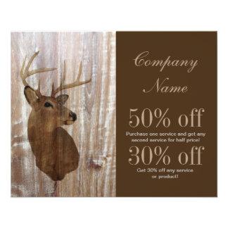 rustic grunge vintage wood grain hunter buck deer 11.5 cm x 14 cm flyer