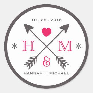 Rustic Heart and Arrow Monogram Wedding Sticker