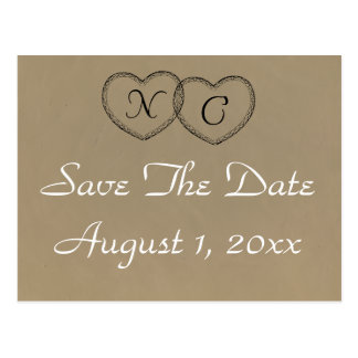 Rustic Hearts Save The Date Postcard