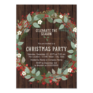 Rustic Holly Christmas Party Card