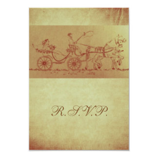 Rustic horse and carriage vintage look wedding 9 cm x 13 cm invitation card