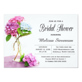 Rustic Hydrangea Flowers Bridal Shower Wedding Card