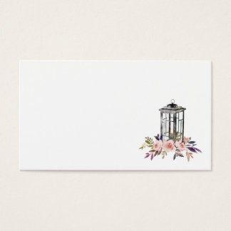 Rustic Iron Lantern Watercolor Flowers Place Cards