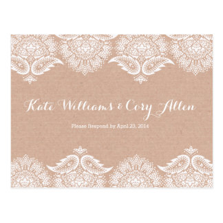 Rustic Kraft & Lace RSVP Postcard Card Invitation