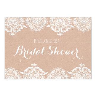 Rustic Kraft Paper & Lace Bridal Shower Invitation