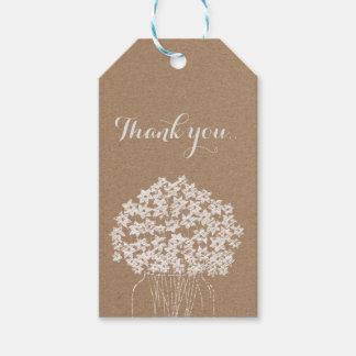 Rustic Kraft Paper Mason Jar Floral Wedding Gift Tags