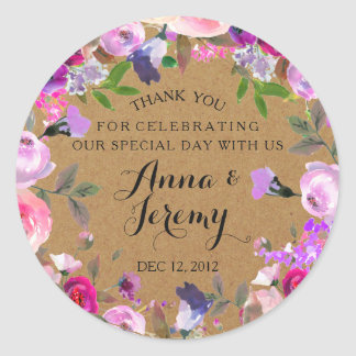 Rustic Kraft Paper Purple Floral Wedding Sticker