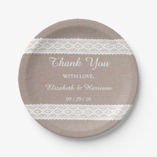 Rustic Kraft & Vintage White Lace Wedding 7 Inch Paper Plate