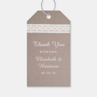 Rustic Kraft & Vintage White Lace Wedding Gift Tags