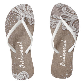 Rustic lace and burlap silver glitter bridesmaid jandals