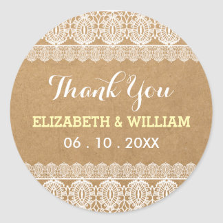 Rustic Lace & Paper Wedding Thank You Yellow Classic Round Sticker