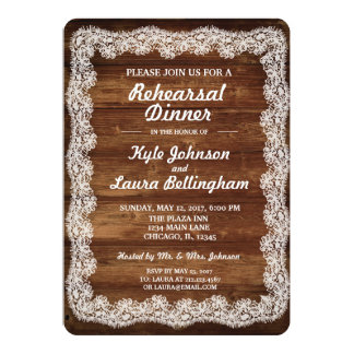 Rustic Lace Rehearsal Dinner Card