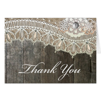 Rustic Lace Vintace Wood Thank You Cards
