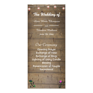 Rustic Lantern Lights Wedding Program Card Customised Rack Card