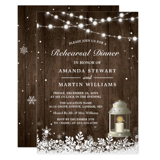 Rustic Lantern Snowflakes Winter Rehearsal Dinner Card