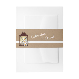 Rustic Lantern with Daisies Invitation Belly Band