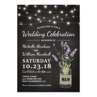 Rustic Lavender Mason Jar Lights Wedding Card