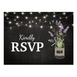 Rustic Lavender Mason Jar Lights Wedding RSVP Postcard