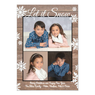 Rustic Let it Snow - Christmas Photo Flat Card