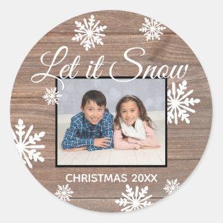 Rustic Let it Snow - Circle Sticker
