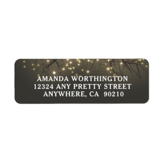 Rustic Lighted Tree Branch Country Wedding Return Address Label