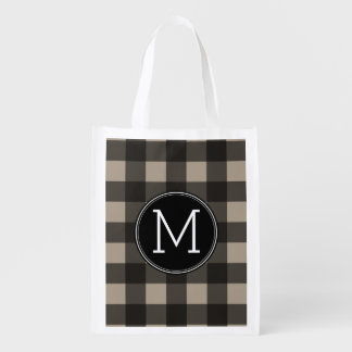Rustic Linen Black Buffalo Plaid gingham Monogram