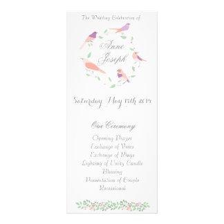 Rustic love birds wedding program rack card template