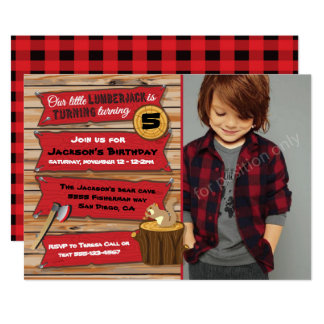 Rustic Lumberjack Birthday Party with Photo Card