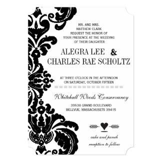 Rustic Luxe Vintage Black Damask Wedding Invites