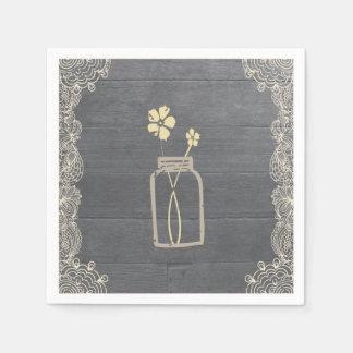 Rustic Mason Jar and Lace Paper Napkins
