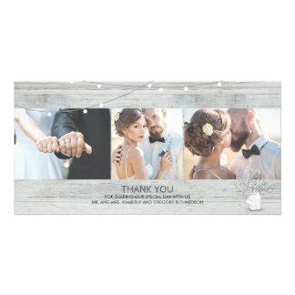 Rustic Mason Jar Baby's Breath Wedding Thank You Photo Greeting Card
