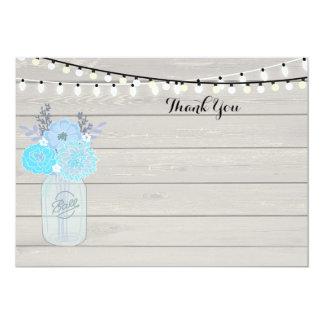 Rustic Mason Jar Blue Bridal ShowerThank You card