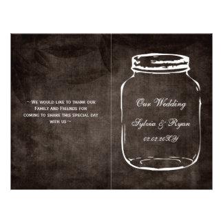 rustic mason jar folded Wedding program 21.5 Cm X 28 Cm Flyer