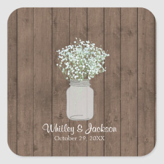 Rustic Mason Jar Square Sticker