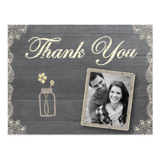 Rustic Mason Jar Thank you postcards