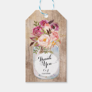Rustic Mason Jar Watercolor Flowers Thank You Gift Tags