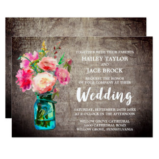 Rustic Mason Jar with Flower Bouquet Wedding Card