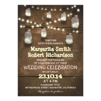 rustic mason jars and light wedding invitations personalized invitations