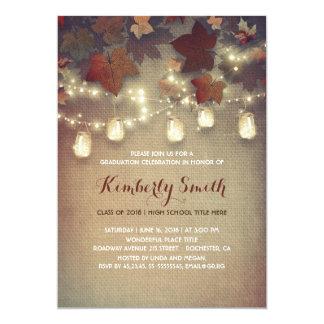Rustic Mason Jars Lights Fall Graduation Party Card